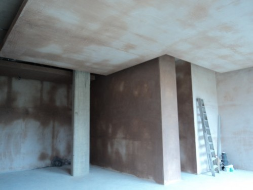 Large scale plastering with feature ceiling.
